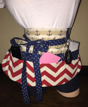Teacher Apron {Navy Blue, Off White, and Red}