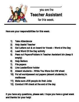 Teacher Assistant Directions