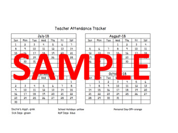 Teacher Attendance Tracker July 2018- June 2019