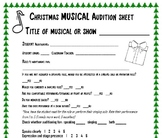 Audition Sheet for musicals and shows
