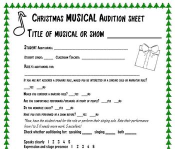 Christmas Audition Sheet for musicals and shows