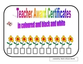Teacher Award Certificates - colored and black and white