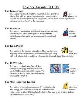 Teacher Awards and Descriptions