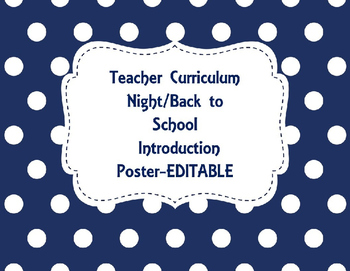 Teacher Back to School and Curriculum Night Introduction Poster