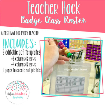 Teacher Badge Roster Freebie