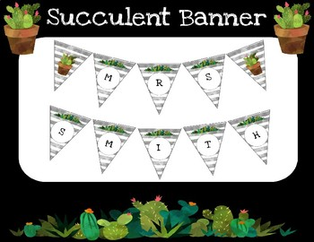 Teacher Banner- Watercolor Succulent Theme