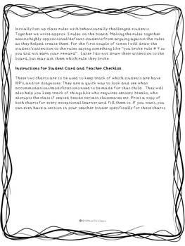Teacher Behaviour Management Plan with checklists