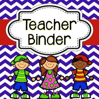 Teacher Binder - Blue Chevron