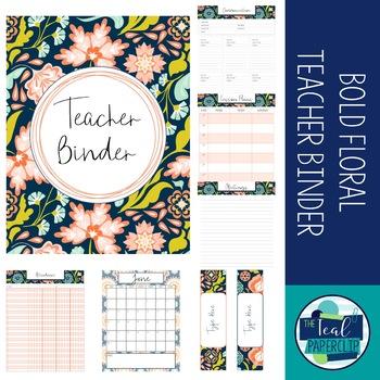 Editable Teacher Binder 17-18: Bold Floral