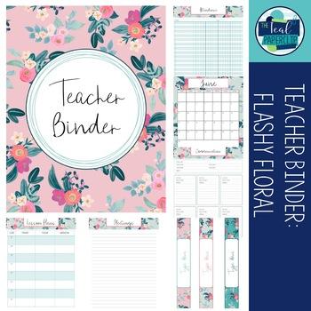 Editable Teacher Binder 18-19: Flashy Floral