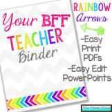 Editable Teacher Binder {Rainbow Arrows Themed with Editable Binder Covers}