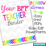 Editable Teacher Binder {Rainbow Arrows Themed with Editab