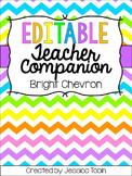 Teacher Planner 2018-2019, Bright Chevron Editable Teacher Binder
