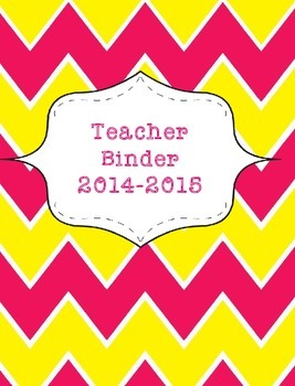 Teacher Binder 2015-2016 Pink and Yellow Chevron