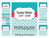 Quatrefoil Teacher Binder 2017 - 2018 (Binder Covers & Calendars) Editable