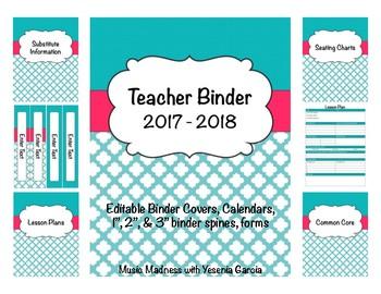 Quatrefoil Teacher Binder 2016-2017(Binder Covers & Calend