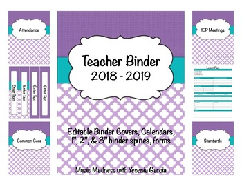 Quatrefoil Teacher Binder 2017-2018(Binder Covers & Calendars) Editable