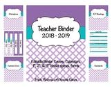 Quatrefoil Teacher Binder 2018-2019(Binder Covers & Calendars) Editable