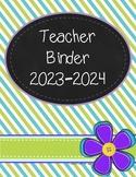 Teacher Binder 2017-2018 (lime green, teal, and purple theme)