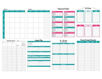 Pink & Teal Chevron Teacher Binder 2017-2018(Binder Covers & Calendars) Editable