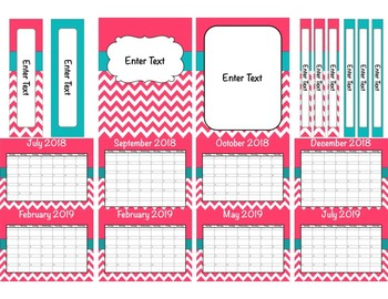 Pink & Teal Chevron Teacher Binder 2018-2019(Binder Covers & Calendars) Editable