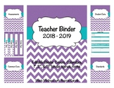 Purple Chevron Teacher Binder 2018-2019 (Binder Covers & Calendars) Editable