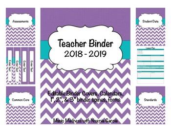 purple chevron teacher binder 2018 2019 binder covers calendars