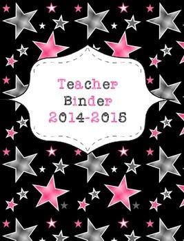 Teacher Binder 2015-2016 Black and Pink Stars