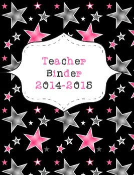Teacher Binder 2015-2016 Black and Pink Stars
