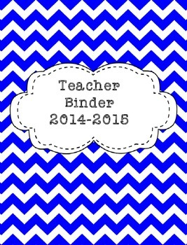 Teacher Binder 2015-2016 Blue Chevron
