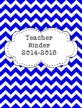 Teacher Binder 2015-2016 Blue Chevron
