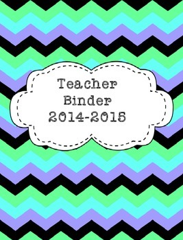 Teacher Binder 2015-2016 Blue Green Retro Chevron