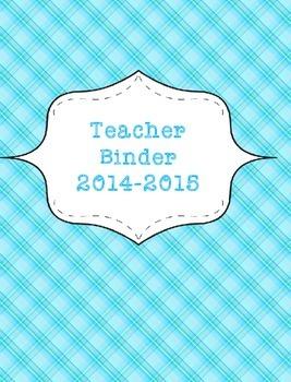 Teacher Binder 2015-2016 Blue Plaid