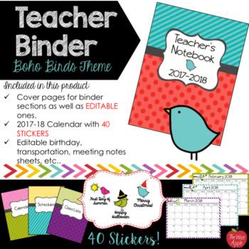 Teacher Binder 2016-2017 Boho Birds **Now Editable !