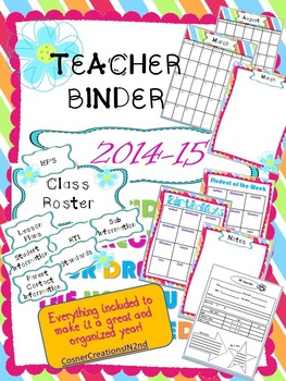 Teacher Binder 2014-2015 Bright Flower