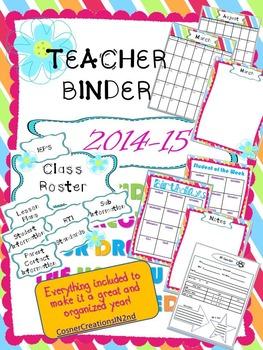 Teacher Binder 2014-2015 Bright Flower