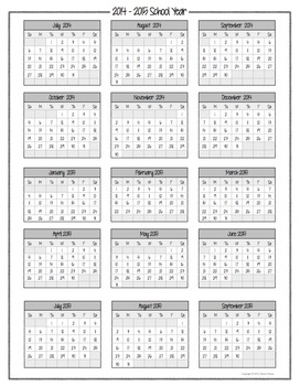 Teacher Binder 2014-2015 Calendar - Editable