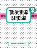Teacher Binder 2015 - 2016: Polka Dots with Owl, Pink Ribb