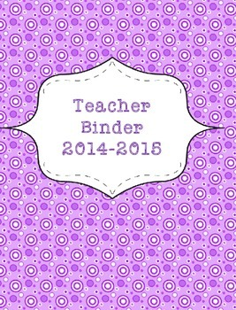 Teacher Binder 2015-2016 Purple Polka Dots