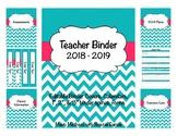 Teal & Pink Chevron Teacher Binder 2018-2019(Binder Covers & Calendars) Editable