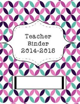 Teacher Binder 2015-2016 Turquoise and Purple