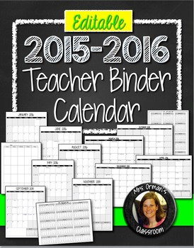 Editable Teacher Binder 2015-2016 Calendar