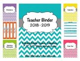 Chevron Teacher Binder 2018-2019 (Covers, Spines, Forms & Calendars) Editable