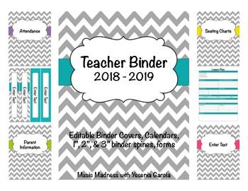 Teacher Binder 2017- 2018 (Covers, Spines, Forms & Calendars) Editable
