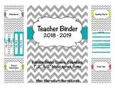 Teacher Binder 2018- 2019 (Covers, Spines, Forms & Calendars) Editable