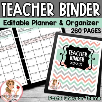 Editable Teacher Binder Pastel Chevron Theme {Free Updates for Life}