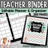 Editable Teacher Binder Pastel Chevron Theme {Free Updates for Life}