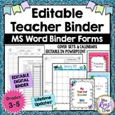 Editable Teacher Binder Planner  MS Word Teacher Binder Fully Editable