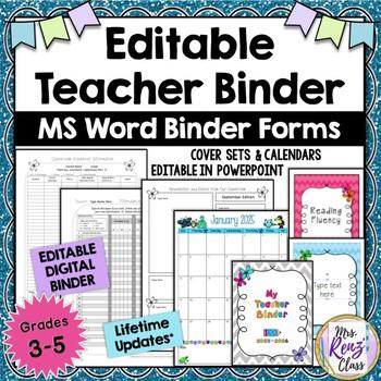 editable teacher binder ms word fully editable teacher planner lifetime