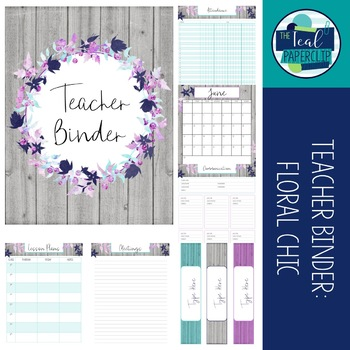 Editable Teacher Binder 17-18: Floral Chic